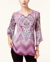 JM Collection Petite Printed Angel-Sleeve Tunic