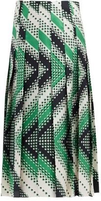 Gucci Pleated Chevron-print Silk-twill Skirt - Green Multi
