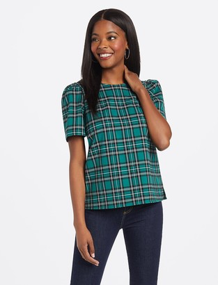 Draper James Angie Check Puff Sleeve Blouse