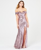 B. Darlin Juniors' Off-The-Shoulder Sequined Gown