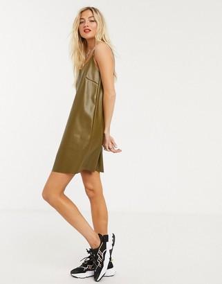 Noisy May leather look cami dress in khaki