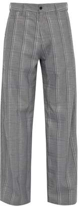 Hope Wind Checked High Rise Trousers - Mens - Grey Multi