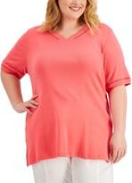 Thumbnail for your product : Karen Scott Plus Size Crochet-Trim Cotton Top, Created for Macy's
