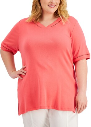 Karen Scott Plus Size Crochet-Trim Cotton Top, Created for Macy's