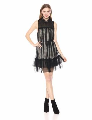 AVEC LES FILLES Women's Mock Neck Tulle Dress