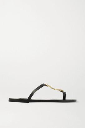 Ancient Greek Sandals Aten Embellished Leather Sandals - Black