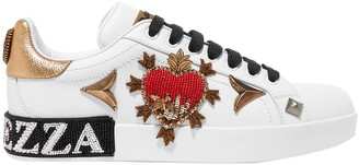 Dolce & Gabbana Embellished Leather Sneakers