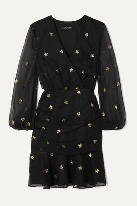 HANEY Tavi Metallic Fil Coupe Silk-blend Chiffon Mini Dress - Black