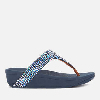 FitFlop Women's Lottie Chain Print Toe Post Sandals - Midnight Navy
