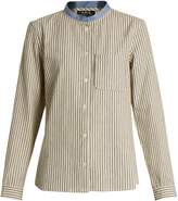A.P.C. Contrast-collar striped cotton shirt