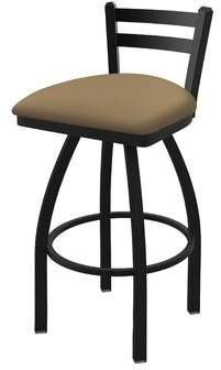 "Ebern Designs 411 Torzsok Low Back Swivel Bar & Counter Stool Color: Black Wrinkle, Upholstery: Canter Sand, Seat Height: Bar Stool (30"" Seat Height)"