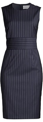 HUGO BOSS Dometa Traceable Stretch Wool Pinstripe Dress