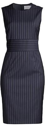 HUGO BOSS Dometa Traceable Stretch Wool Pinstripe Dress