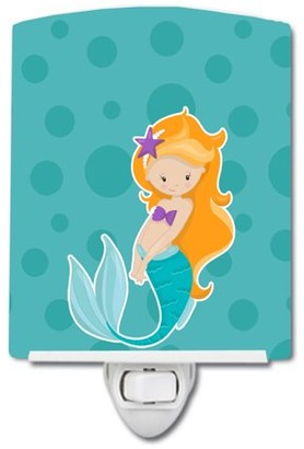 Caroline's Treasures Beach Mermaid Ginger Ceramic Night Light