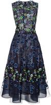 Oscar de la Renta Floral A Line Dress