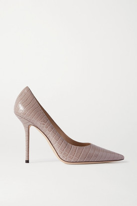 Jimmy Choo Love 100 Croc-effect Leather Pumps - Taupe