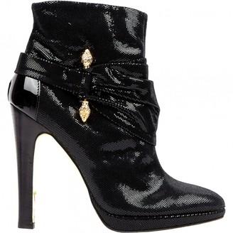 Roberto Cavalli Black Glitter Boots