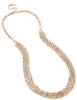Kenneth Cole New York Bead Rose Gold Mesh Long Necklace