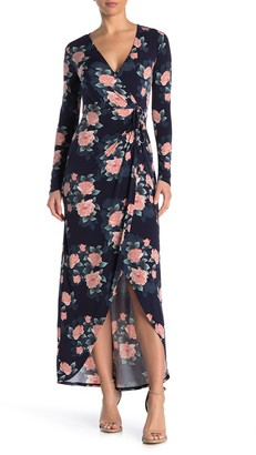 BCBGeneration Floral Print Side Tie Wrap Maxi Dress