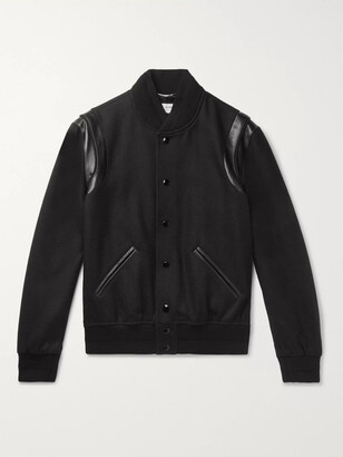 Saint Laurent Teddy Leather-Trimmed Wool Bomber Jacket