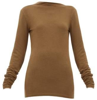 Lemaire Asymmetric-neck Stretch-jersey Sweater - Womens - Dark Brown
