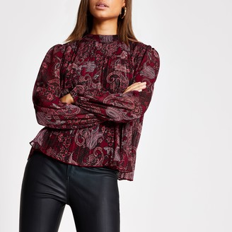 River Island Womens Red paisley pleated long sleeve blouse