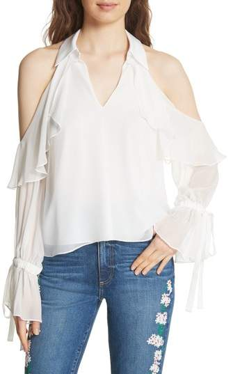 Alice + Olivia Blayne Cold Shoulder Silk Blouse
