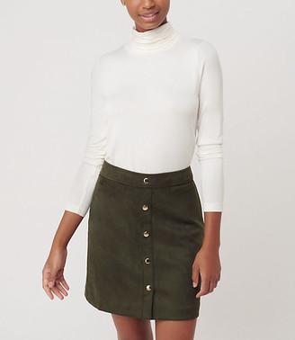 LOFT Faux Suede Snap Shift Skirt
