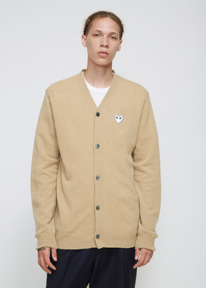 Comme des Garcons Men's White Heart Cardigan Sweater in Camel Size Medium 100% Wool