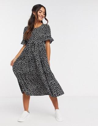 Qed London drawstring waist midi dress in black polka dot