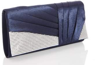 Quiz Navy Diamante Pleat Bag