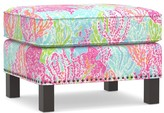 Pottery Barn Lilly Pulitzer Tyler Upholstered Ottoman With Nailheads