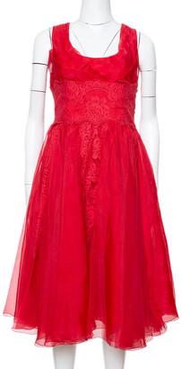 Dolce & Gabbana Red Silk Organza Lace Trim Flared Dress M