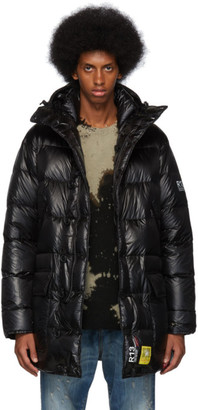 R 13 Black Brumal Edition Down Mid-Length Anorak Puffer Coat
