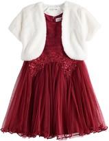 Knitworks Girls 4-6x Lace Trim Skater Dress with Faux Fur Bolero