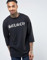 Asos Oversized 3/4 Sleeve With Text Front Print