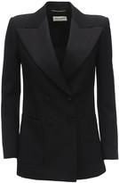 Saint Laurent Satin & Wool Short Sleeve Blazer