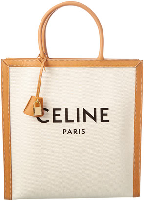 Celine Vertical Cabas Canvas & Leather Tote