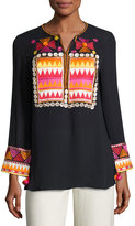 Figue Lisbette Embroidered Cotton Tunic, Navy
