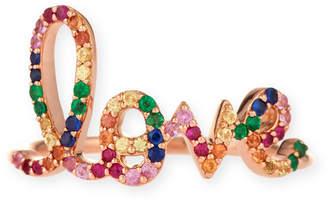 Sydney Evan 14k Large Rainbow Sapphire Love Ring