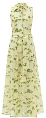 Galanthya - Louise Water Lily-print Cotton Shirt Dress - Yellow Print