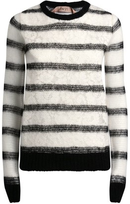 No.21 N21 Stripe Lace-Panel Sweater