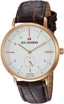 Ben Sherman Men's 'The Dylan Professional' Quartz Gold and Leather Casual Watch, Color:Brown (Model: WBS102TRG)