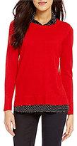Intro Point Collar Polka Dot Print Shirttail Hem Solid Sweater