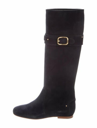Chloé Suede Studded Accents Riding Boots Blue