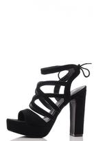 Quiz Black Faux Suede Strap Heel Shoes