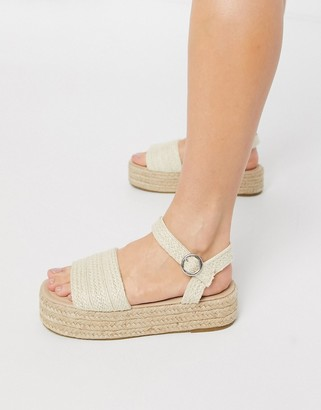 South Beach flatform espadrille sandals in woven