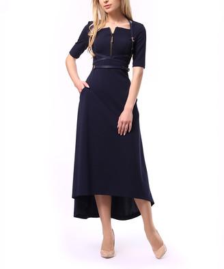 LADA LUCCI Women's Career Dresses Navy - Navy Wrapped-Belt Hi-Low Dress - Women & Plus