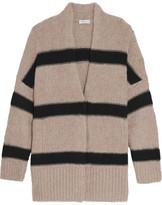 Brunello Cucinelli Striped Alpaca-blend Cardigan - Cream