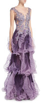 Marchesa Sleeveless Illusion Pleated Gown, Violet